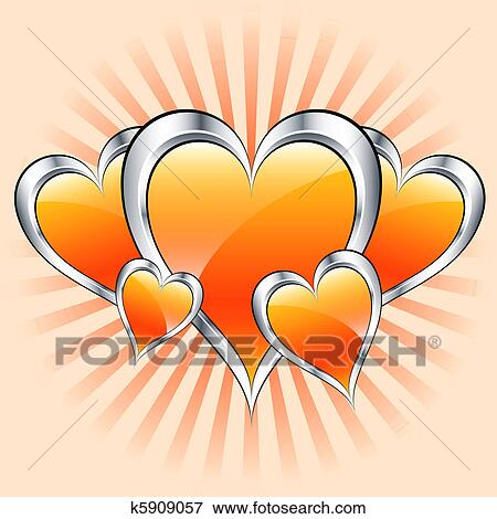 clip art of orange hearts valentine or mothers day k5909057