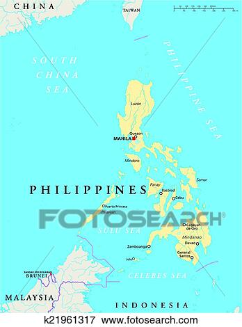 Clip Art Of Philippines Political Map K21961317 Search Clipart