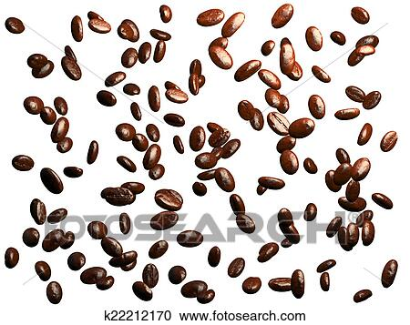 stock illustrations of roasted coffee beans falling down