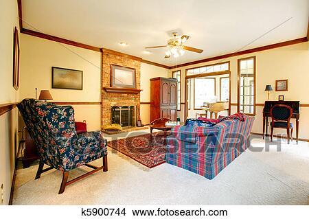 Coleccin de foto sala con ingls estilo muebles y chimenea