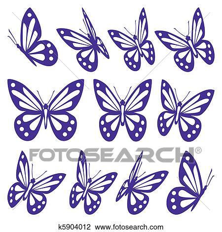 Clipart Set Di Farfalle K5904012 Cerca Clipart Illustrazioni