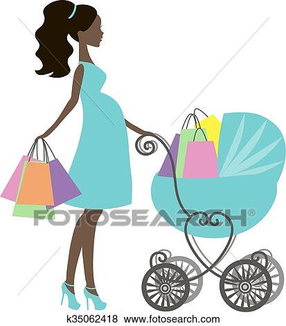 clip art of vector of modern pregnant mommy with vintage baby rh fotosearch com vintage baby boy clipart vintage baby girl clipart
