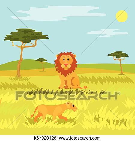 Wildlife Dangerous Animal in Savannah, Lion Vector Clip ...