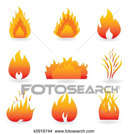 炎 そして 火 シンボル クリップアート切り張りイラスト絵画