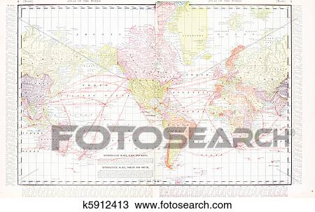 Stock Photo Of America Centric Antique Vintage Color World Map