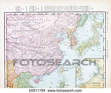 Stock Photo   Antique Color English Map Of China, Korea, Japan. Fotosearch
