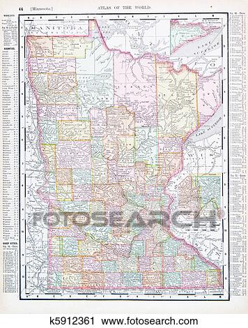 Stock Photography Of Antique Color Map Minnesota Mn United States