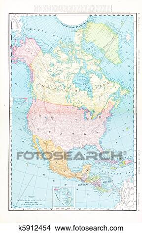 Map Of Canada 1900.Antique Color Map North America Canada Mexico Usa Picture