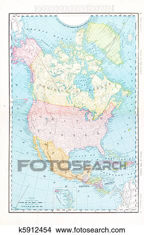 Stock Photo Of Antique Color Map North America Canada Mexico Usa