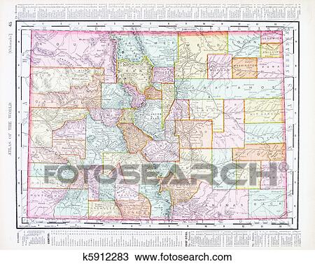 Stock Photo Of Antique Color Map Of Colorado United States Usa