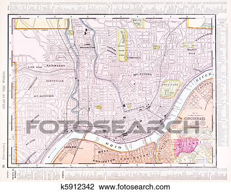 Stock Photo Of Antique Color Street City Map Cincinnati Ohio Usa
