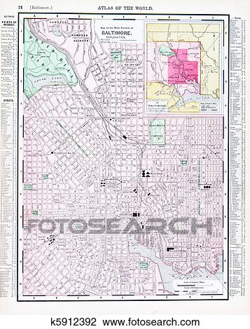 Maryland On Usa Map.Stock Photo Of Antique Color Street Map Baltimore Maryland Usa