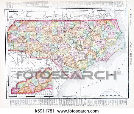 Stock Photography of Antique Map North Carolina, NC, United States ...