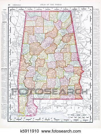 Antique Map of Alabama, AL, United States, USA Stock Image ...