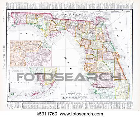 Vintage Map Of The United States.Stock Photography Of Antique Map Of Florida Fl United States Usa
