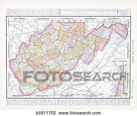 Stock Photo of Antique Map of West Virginia, WV United Sates, USA ...