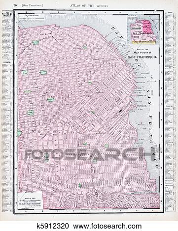 Stock Photography of Antique Street Map San Francisco California USA ...