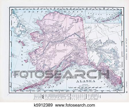 Antique Vintage Color Map of Alaska, USA Stock Photo