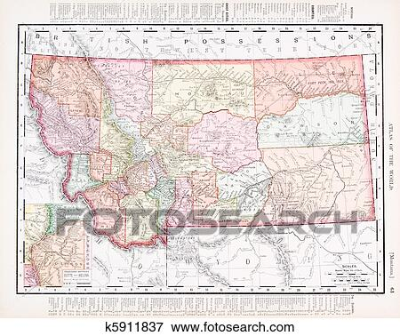 Picture Of Antique Vintage Color Map Of Montana United States