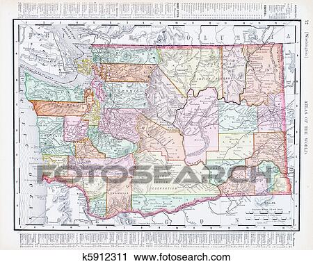 Antique Vintage Color Map of Washington State, USA Stock Image