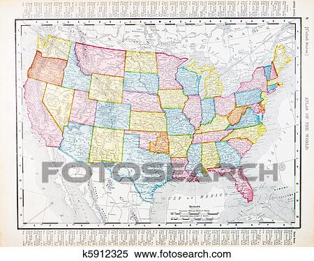 Vintage Map Of The United States.Stock Image Of Antique Vintage Map United States America Usa