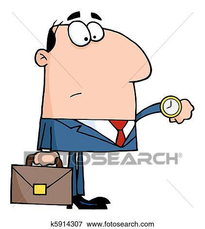 clip art of businessman checking his watch k5914307 search clipart rh fotosearch com businessman clipart free businessman clipart black and white