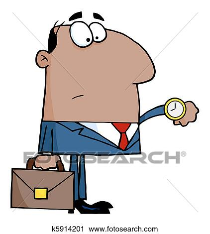 clipart of businessman checking his watch k5914201 search clip art rh fotosearch com clipart business man woman clip art business man on phone