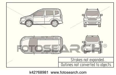 Clipart of car van drawing outlines not converted to objects ...