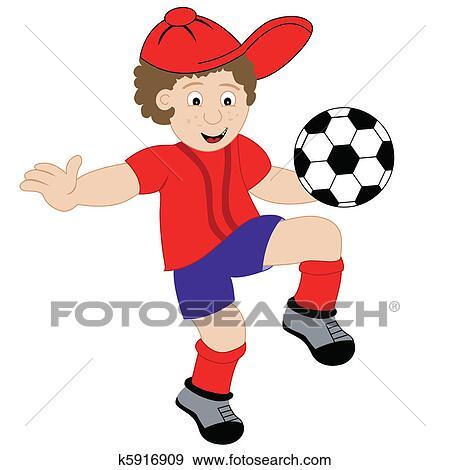 Clip Art Of Cartoon Boy Playing Football K5916909