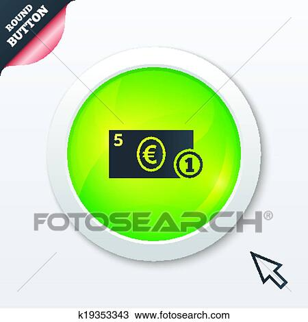 Clipart Of Cash Sign Icon Euro Money Symbol Coin K19353343