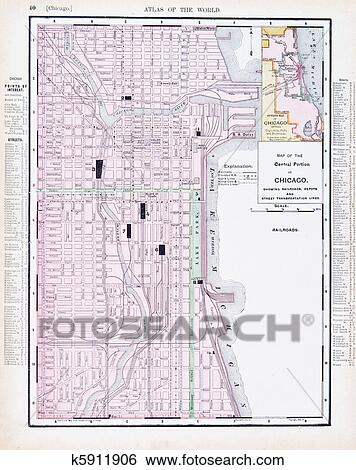 Color Street City Map of Chicago, Illinois, IL USA Stock Photograph on