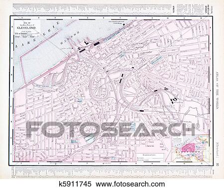Color Street City Map of Cleveland, Ohio, OH, USA Stock Photography on