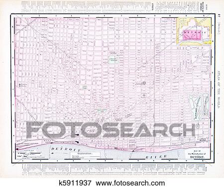 Picture of Color Street City Map of Detroit, Michigan, MI USA ...