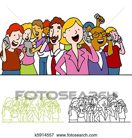 clip art of crowd of people using phones k5914557 search clipart rh fotosearch com Silhouette People Group Clip Art People Clip Art