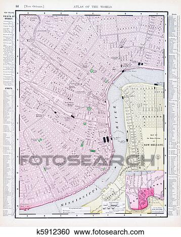 Stock Photography Of Detailed Antique Street Map New Orleans