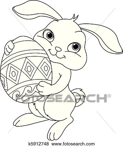 Clip Art of Easter bunny. Coloring page k5912748 - Search Clipart ...