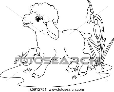 clipart of easter lamb coloring page k5912751 search clip art