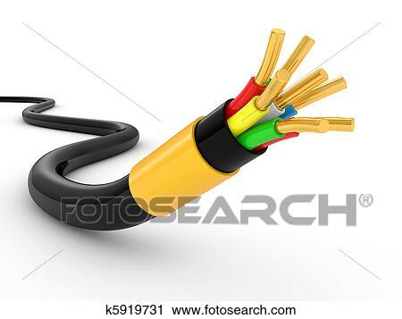 Clipart - elektrisches kabel, weiß k5919731 - Suche Clip Art ...