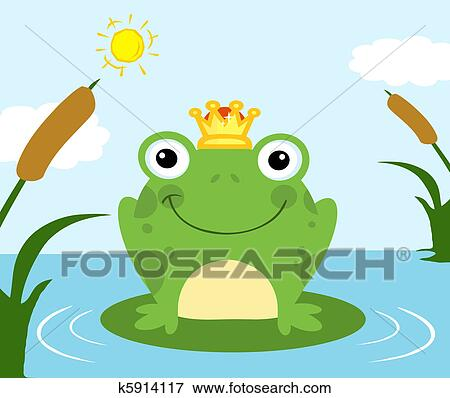 clip art of frog prince on a pond k5914117 search clipart rh fotosearch com Lips Clip Art Frog Prince Google Pictures of a Frog Prince