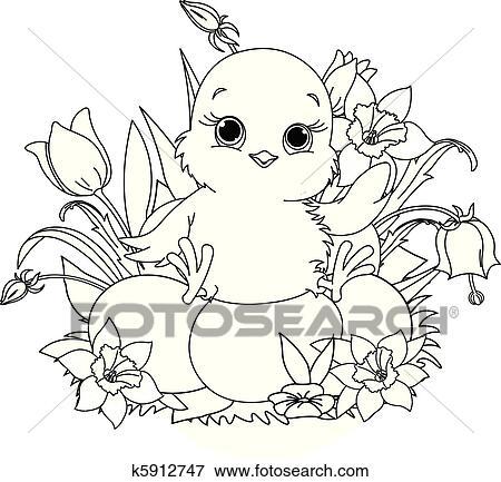 Clip Art - frohes ostern, chick., färbung, seite k5912747 - Suche ...
