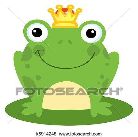 clip art of happy frog prince k5914248 search clipart rh fotosearch com Frog Prince Disney Google Pictures of a Frog Prince