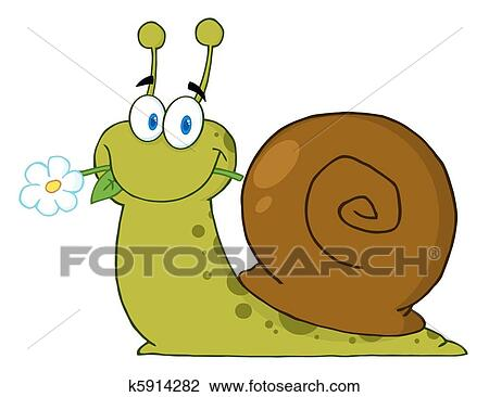Heureux Dessin Anime Escargot Clipart K5914282 Fotosearch