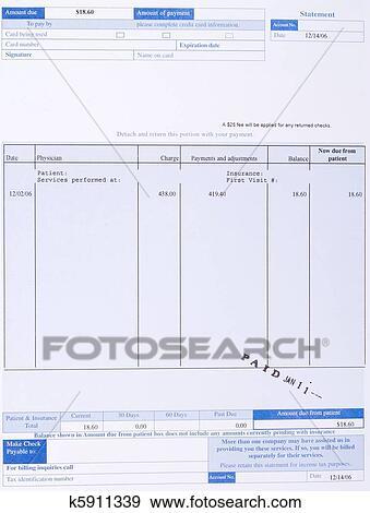 Stock Fotograf Papier Medizinische Rechnung Form Gestempelt