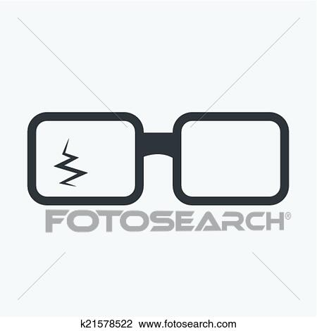 moda firmata 88a3c 794f6 Rotto, occhiali, icona Clipart