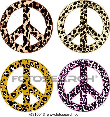 Simbolo Paz Com Impressao Leopardo Desenho K5910043 Fotosearch