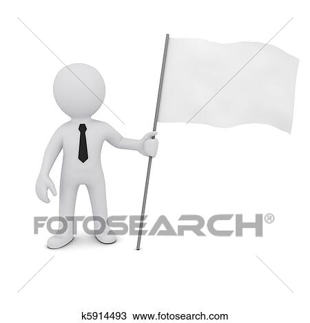 Drawing Of Small Three Dimensional Man Holding A White Flag K5914493