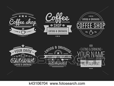 Clipart Of Vintage Logo Coffee Shop Template Restaurant Label