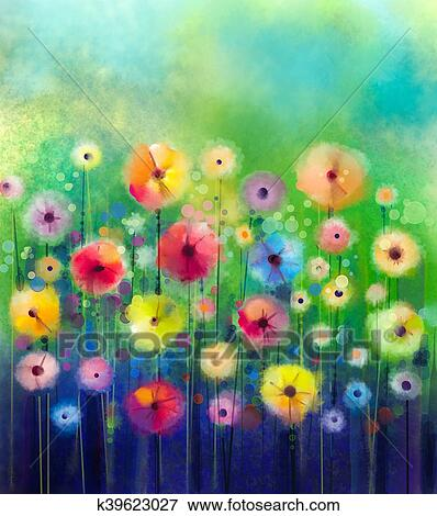 Abstract Floral Watercolor Painting Spring Flower Seasonal