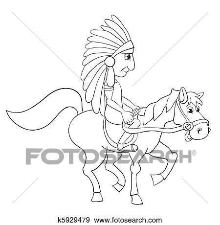 Clip Art Of American Indian K5929479