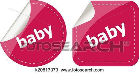 Stock Illustration - baby, wort, auf, aufkleber, taste, satz ...